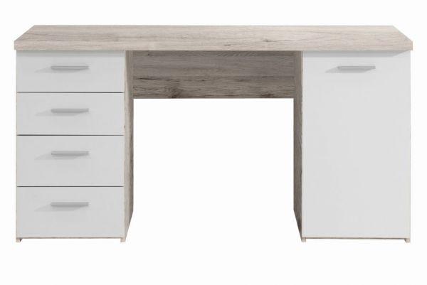 Schreibtisch Net in Sandeiche und weiß Laptoptisch mit Schubkästen für Homeoffice und Büro 145 x 76 cm