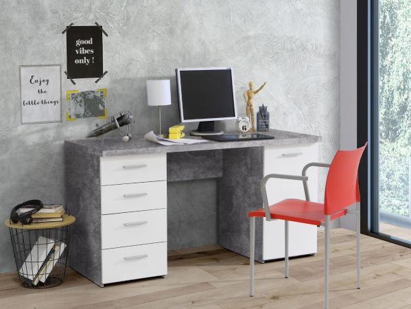 Schreibtisch Net in Beton Design grau und weiß Laptoptisch mit Schubkästen für Homeoffice und Büro 145 x 76 cm