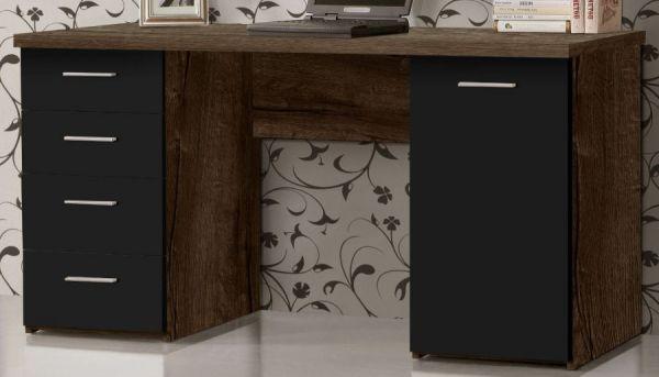Schreibtisch Net in Schlammeiche und Schwarzeiche / Eiche Laptoptisch mit Schubkästen für Homeoffice und Büro 145 x 76 cm