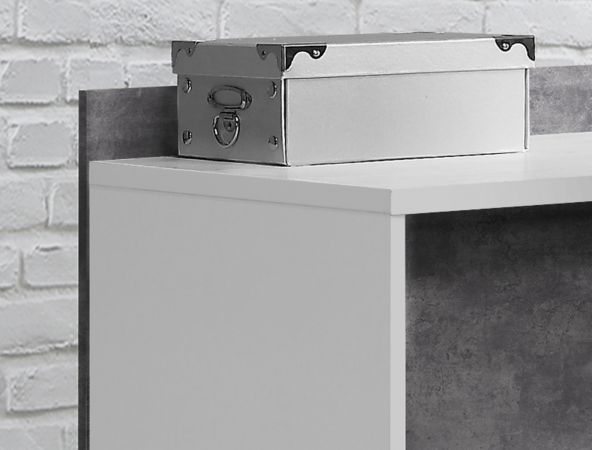 Eckschreibtisch Net in Beton Design grau und weiß Schreibtisch mit Schubkästen für Homeoffice und Büro 112 x 140 cm