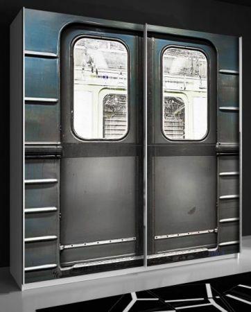 """Schwebetürenschrank Plakato in weiß mit Motivdruck """"Metro"""" Kleiderschrank 2-türig 170 x 190 cm"""