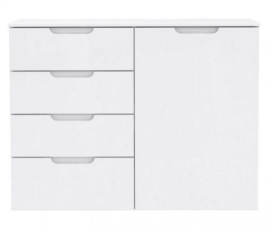 Kommode Sienna in Hochglanz weiß Anrichte 110 x 85 cm Sideboard