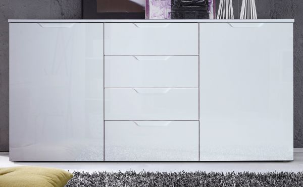 Kommode Sienna in Hochglanz weiß Anrichte 165 x 85 cm Sideboard