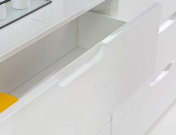 Kommode Sienna in Hochglanz weiß Anrichte 110 x 117 cm Sideboard