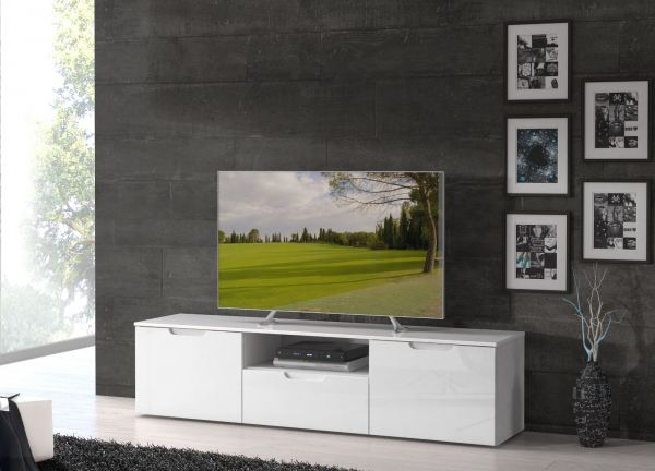TV-Lowboard Sienna in Hochglanz weiß TV-Unterteil 170 x 43 cm Fernsehtisch