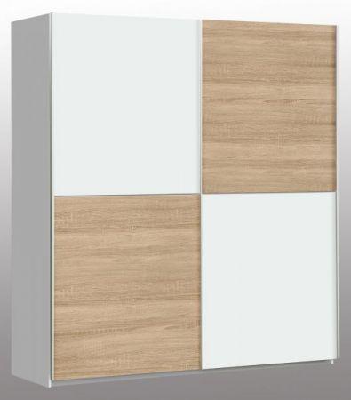 Schwebetürenschrank Winner in weiß und Sonoma Eiche Kleiderschrank 2-türig 170 x 191 cm
