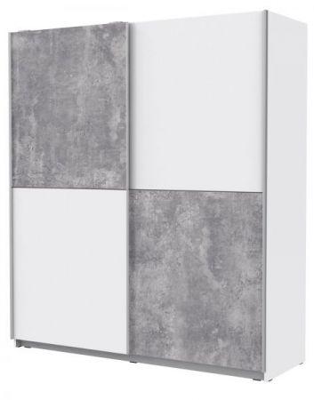 Schwebetürenschrank Winner in weiß und Beton Design grau Kleiderschrank 2-türig 170 x 191 cm