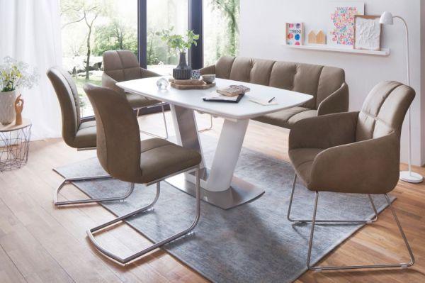 2 x Stuhl mit Armlehne Tessera in Schlamm Kunstleder und Kufengestell Edelstahl Esszimmerstuhl 2er Set Clubsessel
