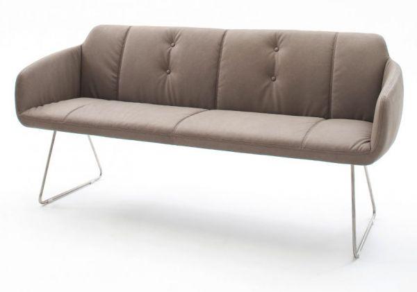 Sitzbank Tessera in Schlamm Kunstleder und Kufengestell Edelstahl Küchenbank Polsterbank 160 cm