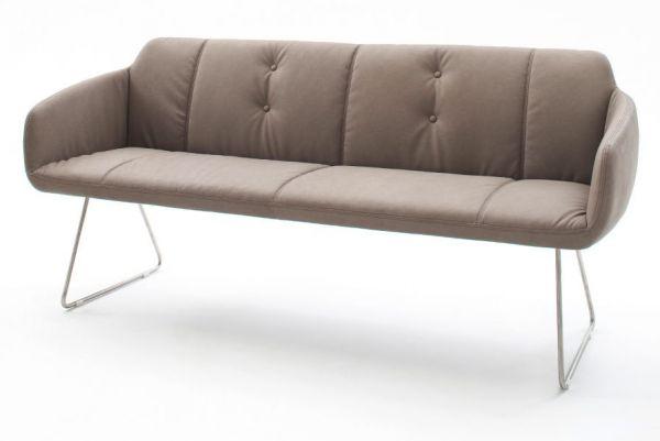 Sitzbank Tessera in Schlamm Kunstleder und Kufengestell Edelstahl Küchenbank Polsterbank 180 cm