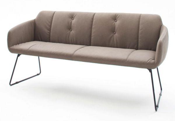 Sitzbank Tessera in Schlamm Kunstleder und Kufengestell Anthrazit lackiert Küchenbank Polsterbank 160 cm