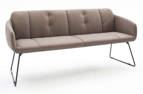 Sitzbank Tessera in Schlamm Kunstleder und Kufengestell Anthrazit lackiert Küchenbank Polsterbank 180 cm