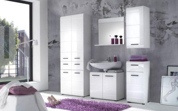 """Badezimmer: Hochschrank """"Skin"""" Hochglanz weiß (60x182 cm)"""