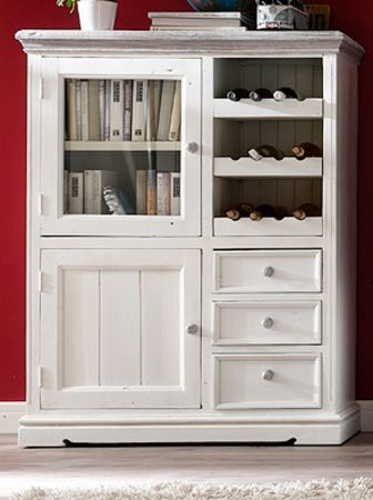 Highboard Opus Kiefer weiss massiv 106 cm