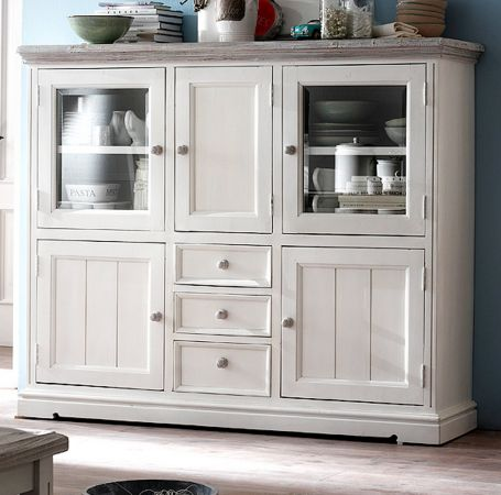 Highboard Opus Kiefer weiss massiv 163 cm