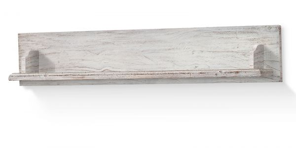 Wandregal Opus in Kiefer Sand Massivholz recycelt Landhaus Wandboard Used Wood 116 x 24 cm Bücherregal