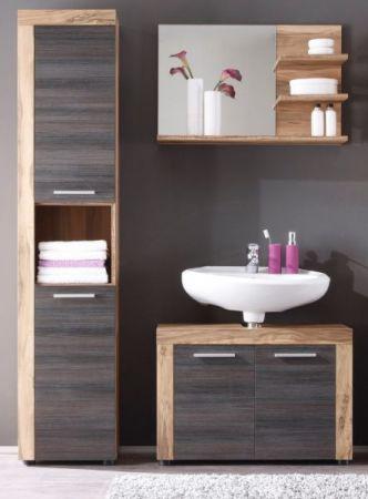 Badezimmer Hochschrank Cancun in Nussbaum Satin und Touchwood dunkelbraun Badmöbel 36 x 184 cm Badschrank