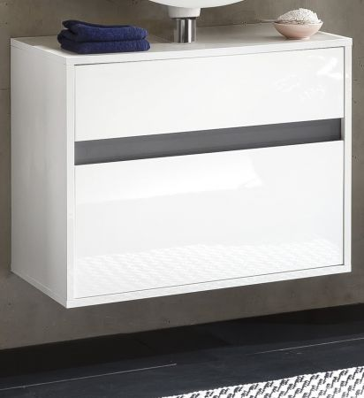 Waschbeckenunterschrank Hängeschrank Sol echt Lack Hochglanz weiß und grau 67 x 52 cm