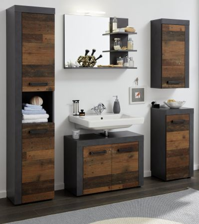 Badmöbel Set Cancun / Indy in Old Used Wood Design mit Matera grau Badkombination 5-teilig 175 x 184 cm