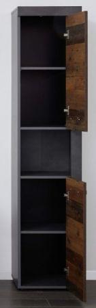 """Badezimmer Hochschrank """"Cancun / Indy"""" in Old Used Wood und grau 36 x 184 cm"""