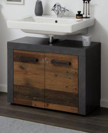 """Waschbeckenunterschrank """"Cancun / Indy"""" in Old Used Wood und grau 72 x 56 cm"""