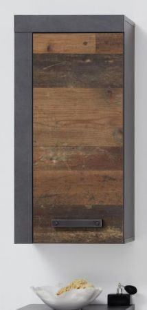 "Bad Hängeschrank ""Cancun / Indy"" in Old Used Wood und grau 36 x 79 cm"