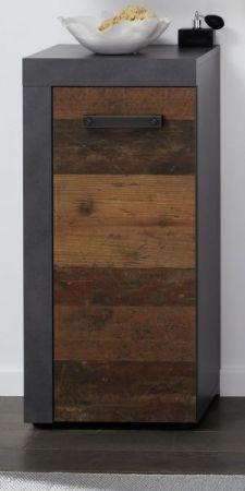 """Badezimmer Unterschrank """"Cancun / Indy """" in Old Used Wood und grau (36 x 81 cm)"""