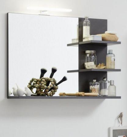 Badezimmer Spiegel Cancun / Indy in Matera grau Badmöbel 72 x 57 cm Wandspiegel mit Ablage