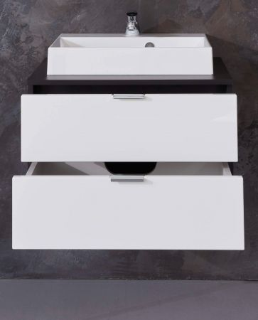Waschtisch Concept1 in Hochglanz weiß und Graphit grau komplett Set 2-teilig Waschbeckenunterschrank mit Waschbecken