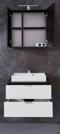Badmöbel Set Concept1 Hochglanz weiß und Graphit grau 3-teilig komplett mit Waschbecken 60 x 192 cm