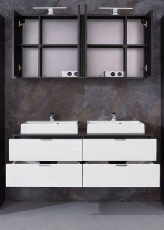 Badmöbel Set Concept1 Hochglanz weiß und Graphit grau Doppelwaschtisch 6-teilig komplett mit Waschbecken 120 x 192 cm