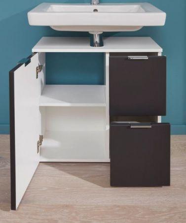 Badezimmer Waschbeckenunterschrank Concept1 in Graphit grau matt und weiß Badmöbel 60 x 64 cm Badschrank
