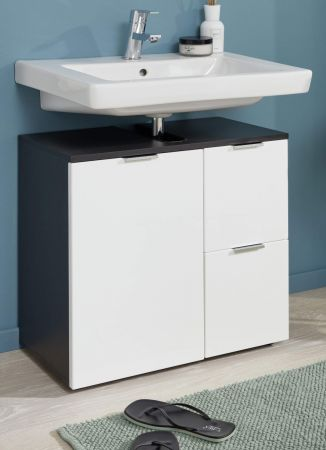 Badezimmer Waschbeckenunterschrank Concept1 in Hochglanz weiß und Graphit grau Badmöbel 60 x 64 cm Badschrank