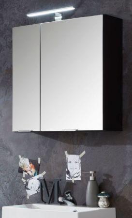 Badezimmer Spiegelschrank Concept1 in Graphit grau 2-türig optional mit LED Spiegellampe 60 x 63 cm Badschrank