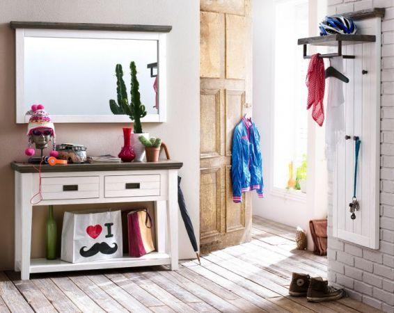 """Garderobe """"Gomera"""" in Akazie massiv weiß lackiert 3-teilig Landhausstil 189 x 200 cm"""