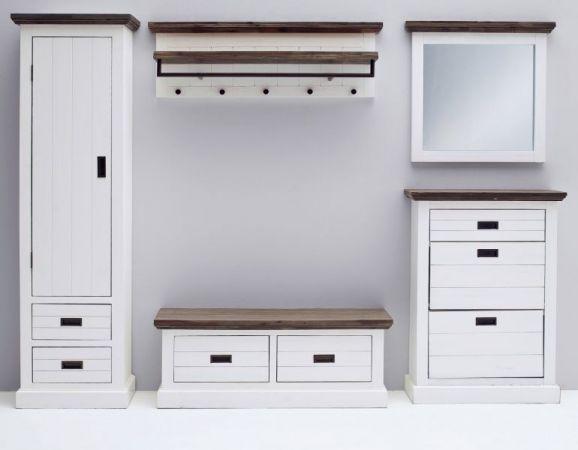 Garderobe Gomera in Akazie massiv Struktur weiß lackiert Garderobenset 5-teilig Landhaus 280 x 200 cm