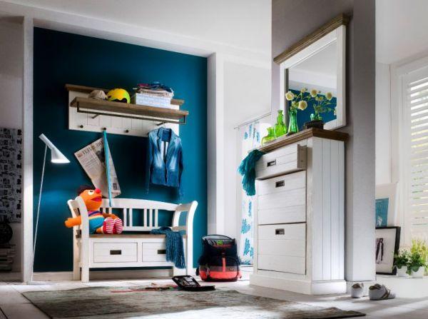 Garderobe Sitzbank Gomera in Akazie massiv Struktur weiß lackiert Landhaus Garderobenbank mit Lehne 120 x 45 cm