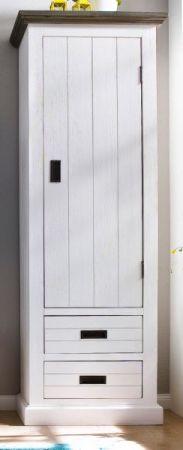 Garderobenschrank Gomera in Akazie massiv Struktur weiß lackiert Landhaus Schuhschrank 60 x 200 cm Türanschlag rechts