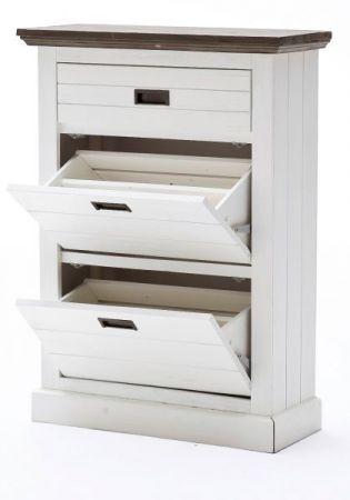 Schuhschrank Gomera in Akazie massiv Struktur weiß lackiert Landhaus Garderobe 80 x 110 cm Schuhkipper