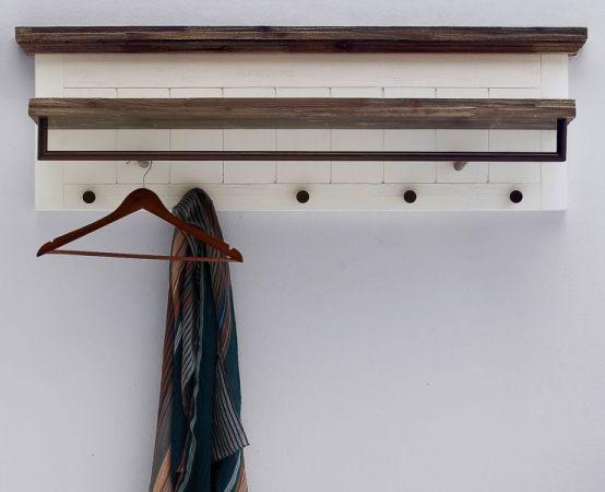 Garderobenleiste Gomera in Akazie massiv Struktur weiß lackiert Landhaus Wandgarderobe 124 x 40 cm Garderobenboard