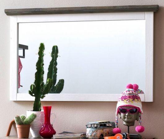 """Garderobenspiegel """"Gomera"""" in Akazie massiv Struktur weiß lackiert Landhaus Wandspiegel 124 x 75 cm"""