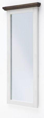Garderobenspiegel Gomera in Akazie massiv Struktur weiß lackiert Landhaus Wandspiegel 59 x 145 cm