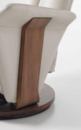 Relaxsessel Martino in Creme echt Leder und Walnuss Fernsehsessel 82 x 113 cm