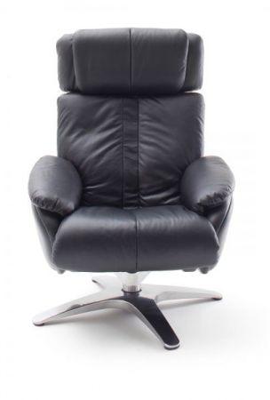 Relaxsessel Sanson in schwarz Leder mit Hocker Funktionssessel 84 x 109 cm Schlafsessel Fernsehsessel