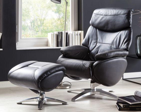 Relaxsessel Morley in schwarz Leder mit Hocker Funktionssessel 85 x 107 cm Schlafsessel Fernsehsessel