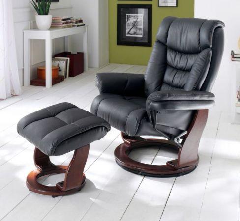 Relaxsessel Toronto in schwarz Leder und Walnuss Set mit Hocker Fernsehsessel 87 x 106 cm