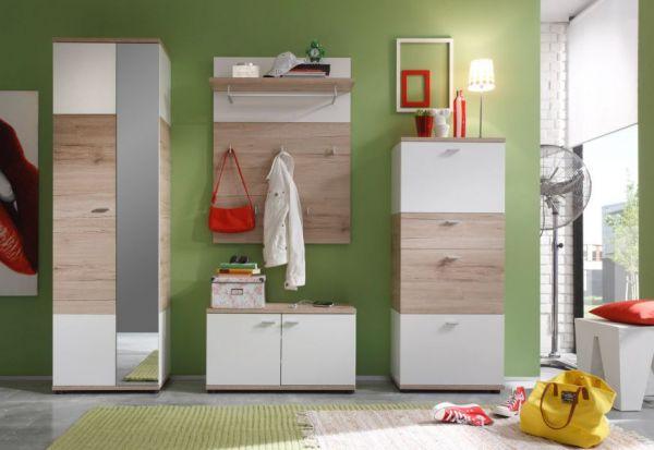 Garderobe Flurgarderobe Campus Set 3-teilig San Remo Eiche hell weiß Breite 190 cm