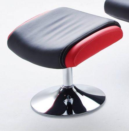 Relaxsessel Bente in schwarz und rot Kunstleder mit Hocker Funktionssessel 81 x 117 cm Schlafsessel Fernsehsessel