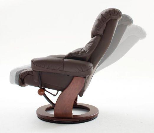 Relaxsessel Calgary in braun Leder und Walnuss mit Hocker Funktionssessel 90 x 104 cm Schlafsessel Fernsehsessel