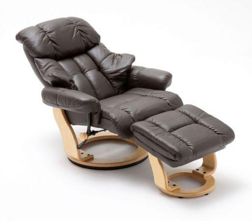 Relaxsessel Calgary in braun Leder und Natur mit Hocker Funktionssessel 90 x 104 cm Schlafsessel Fernsehsessel